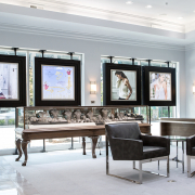 Beautiful display and lobby with seating area at Spicer Greene Jewelers