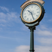 The clock outside of Spicer Greene Jewelers