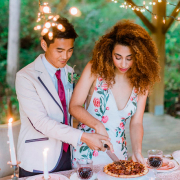 married couple cutting pie at reception