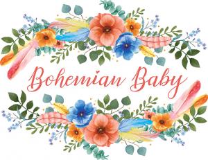 Bohemian Baby logo with flowers around it