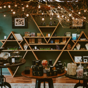 triangle wood shelving at Element Tree Essentials