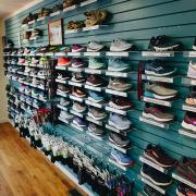 display of running shoes at Jus' Running