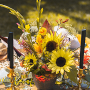 Beautiful flower centerpiece by Parkway Picnics