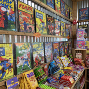 Comic book collection at Rocket Fizz Asheville