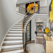 stairwell with chandelier