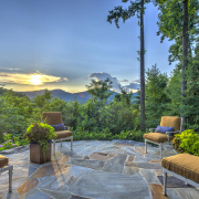 beautiful sunset from stone patio with mountain views